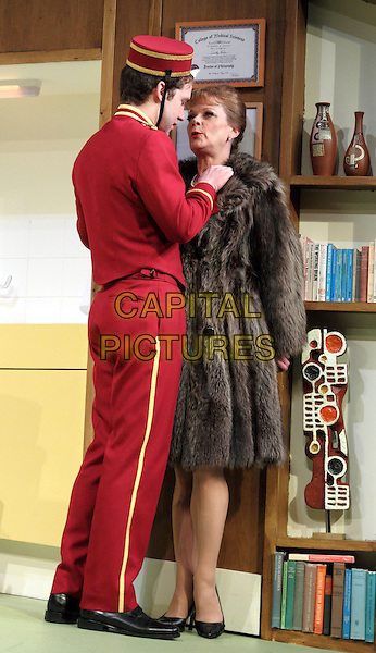 Samantha Bond.'What The Butler Saw' at the Vaudeville Theatre, The Strand, London, England..May 9th 2012.stage full length red uniform hat brown fur coat.CAP/ROS.©Steve Ross/Capital Pictures