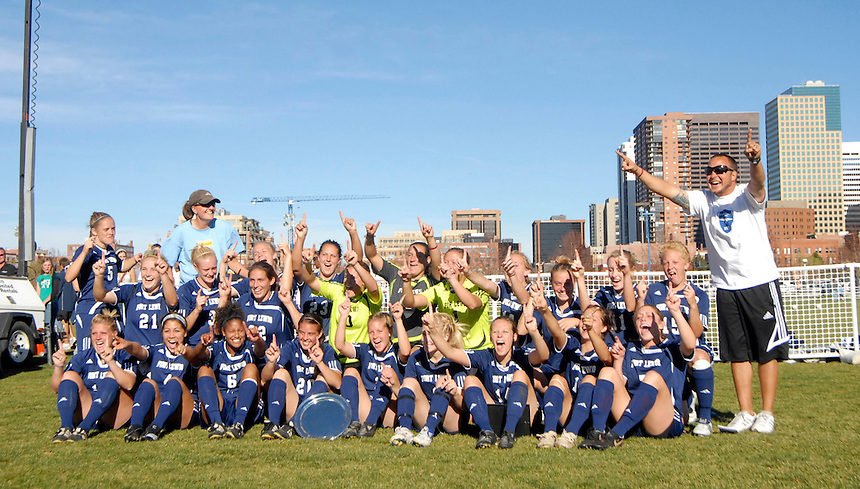 The 2007 Rocky Mountain Athletic Conference womens soccer champions Fort Lewis College seen after the final game in Denver, Colorado.