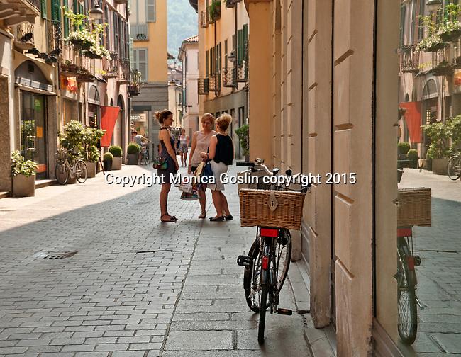 Shopping street in downtown Como, Italy a town on Lake Como