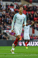 Dele Alli (Tottenham Hotspur) of England celebrates scoring his team's second goal of the game to make it 2-0 during the FIFA World Cup qualifying match between England and Malta at Wembley Stadium, London, England on 8 October 2016. Photo by David Horn / PRiME Media Images.
