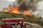 August 19, 2001 Coulterville, California  -- Creek Fire –  Fire jumps across Highway 49.  The Creek Fire burned 11,500 acres between Highway 49 and Priest-Coulterville Road a few miles north of Coulterville, California.