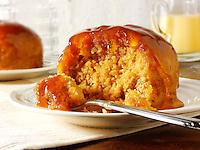 Steamed raspberry sponge and custard