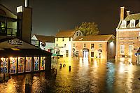 Newport, RI - Bowen's Wharf floods during the high tide storm surge of Hurricane Sandy
