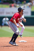 Tacoma Rainiers third baseman Seth Mejias-Brean (21) takes a lead off second base during a Pacific Coast League game against the Sacramento RiverCats at Raley Field on May 15, 2018 in Sacramento, California. Tacoma defeated Sacramento 8-5. (Zachary Lucy/Four Seam Images)