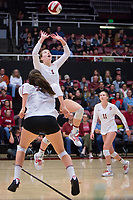 STANFORD, CA - November 15, 2017: Jenna Gray, Audriana Fitzmorris, Kate Formico at Maples Pavilion. The Stanford Cardinal defeated USC 3-0 to claim the Pac-12 conference title.