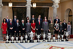 Queen Letizia of Spain, King Felipe VI of Spain, Former Queen Sofia of Spain, Former King Juan Carlos I of Spain, Jeylor Navas, Sandra Sanchez and Juan Mata attends to National Sports Awards at Royal Palace of el Pardo in Madrid, Spain. January 10, 2019. (ALTERPHOTOS/A. Perez Meca) (ALTERPHOTOS/A. Perez Meca)