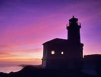 Coquille River Lighthouse at sunset, Oregon