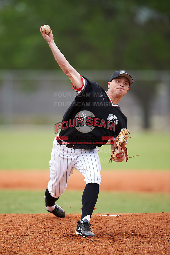 Edgewood College Eagles pitcher Blake Bieri (21) delivers a pitch during the first game of a doubleheader against Western Connecticut Colonials on March 13, 2017 at the Lee County Player Development Complex in Fort Myers, Florida.  Edgewood defeated Western Connecticut 3-0.  (Mike Janes/Four Seam Images)