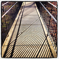 The railing at Summit Presbyterian Church in Mt. Airy creates a repeating pattern shadow on March 3, 2013.