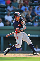 First baseman Carlos Castro (51) of the Rome Braves bats in a game against the Greenville Drive on Sunday, July 31, 2016, at Fluor Field at the West End in Greenville, South Carolina. Rome won, 6-3. (Tom Priddy/Four Seam Images)