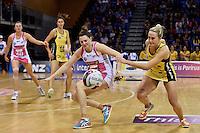 Thunderbirds' Samantha Poolman and Pulse's Chelsea Locke in action during the ANZ Championship - Central Pulse v Adelaide Thunderbirds at Te Rauparaha Arena, Porirua, New Zealand on Sunday 12 June 2016. <br /> Photo by Masanori Udagawa. <br /> www.photowellington.photoshelter.com.