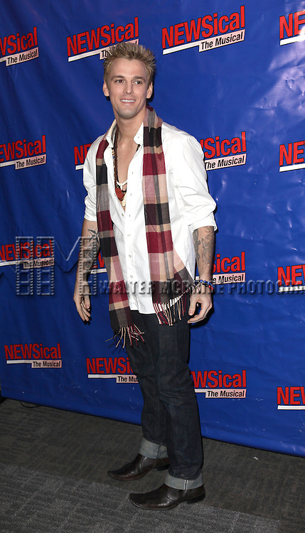 Aaron Carter attending the Opening Night Performance of Perez Hilton in 'NEWSical The Musical' at the Kirk Theatre  in New York City on September 17, 2012