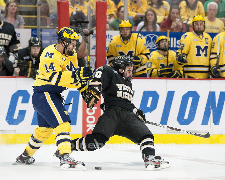 The University of Michigan ice hockey team lost to No. 14 Western Michigan, 3-2, in the CCHA Championship at Joe Louis Arena in Detroit, Mich., on March 17, 2012.