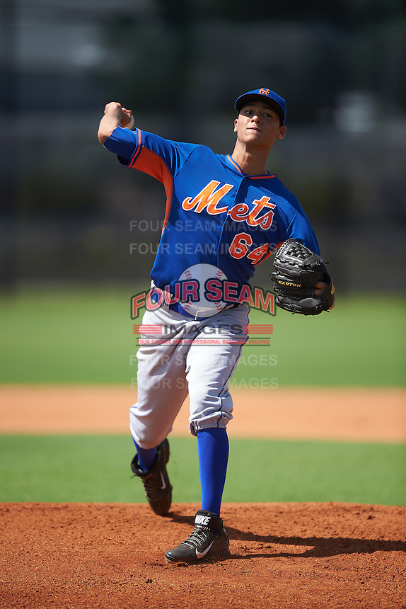 GCL Mets pitcher Marbin Montijo (64) during the first game of a doubleheader against the GCL Astros on August 5, 2016 at Osceola County Stadium Complex in Kissimmee, Florida.  GCL Astros defeated the GCL Mets 4-1 in the continuation of a game started on July 21st and postponed due to inclement weather.  (Mike Janes/Four Seam Images)
