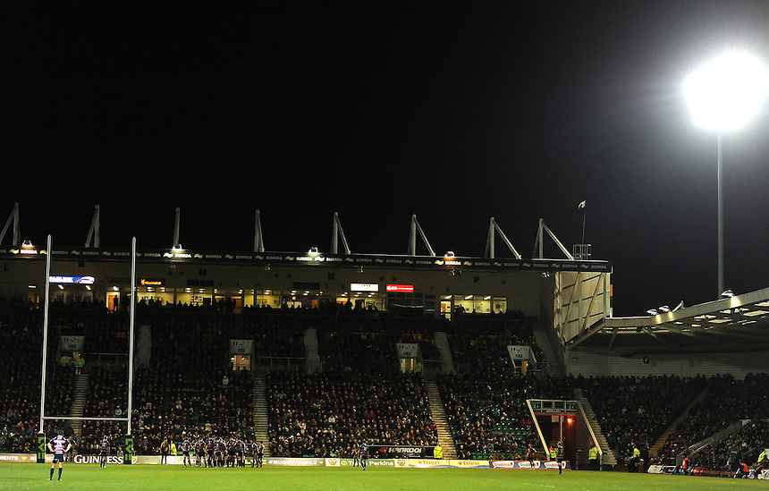 A general view of Franklin's Gardens, home of Northampton saints during the match against Gloucester<br /> <br /> Photographer Stephen White/CameraSport<br /> <br /> Rugby Union - LV= Cup - Northampton Saints v Gloucester - Saturday 9th November 2013 - Franklin's Gardens - Northampton<br /> <br /> &copy; CameraSport - 43 Linden Ave. Countesthorpe. Leicester. England. LE8 5PG - Tel: +44 (0) 116 277 4147 - admin@camerasport.com - www.camerasport.com