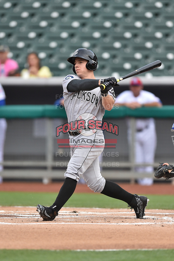 Jackson Generals right fielder Tyler O'Neil (4) swings at a pitch during a game against the Tennessee Smokies at Smokies Stadium on July 5, 2016 in Kodak, Tennessee. The Generals defeated the Smokies 6-4. (Tony Farlow/Four Seam Images)