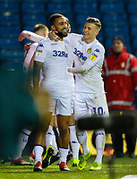 Leeds United's Kemar Roofe celebrates scoring the opening goal with Ezgjan&nbsp;Alioski<br /> <br /> Photographer Alex Dodd/CameraSport<br /> <br /> The EFL Sky Bet Championship -  Leeds United v Derby County - Friday 11th January 2019 - Elland Road - Leeds<br /> <br /> World Copyright &copy; 2019 CameraSport. All rights reserved. 43 Linden Ave. Countesthorpe. Leicester. England. LE8 5PG - Tel: +44 (0) 116 277 4147 - admin@camerasport.com - www.camerasport.com