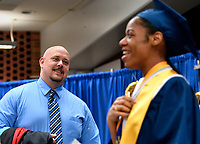 Jefferson County Public Schools broadcasts Iroquois High School's Virtual Graduation 2020 during the COVID-19 pandemic. <br /> <br /> Principal Rob Fulk shares a smile with Student Speaker Zo Simmons after the Iroquois Virtual Graduation.