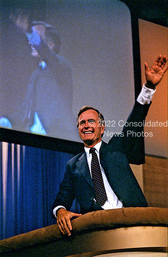 United States Vice President George H.W. Bush addresses the 1984 Republican Convention as he accepts their nomination for reelection as Vice President of the United States at the Reunion Arena in Dallas, Texas on August 23, 1984.<br /> Credit: Howard L. Sachs / CNP