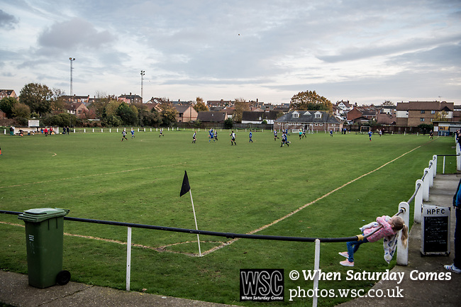 Harwich & Parkeston 2 Barnston 0, 11/11/2017. Royal Oak Ground, Andreas Carter Essex & Suffolk Border League Premier Division. Harwich & Parkeston reached the final of the Amateur Cup in 1953 at Wembley Stadium and played in front of a crowd of 100,000. Photo by Simon Gill.