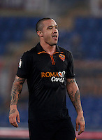 Calcio, ottavi di finale di Coppa Italia Tim: Roma vs Sampdoria. Roma, stadio Olimpico, 9 gennaio 2014.<br /> AS Roma midfielder Radja Nainggolan, of Belgium, reacts during the Italy Cup round of sixteen football match between AS Roma and Sampdoria at Rome's Olympic stadium, 9 January 2014.<br /> UPDATE IMAGES PRESS/Isabella Bonotto