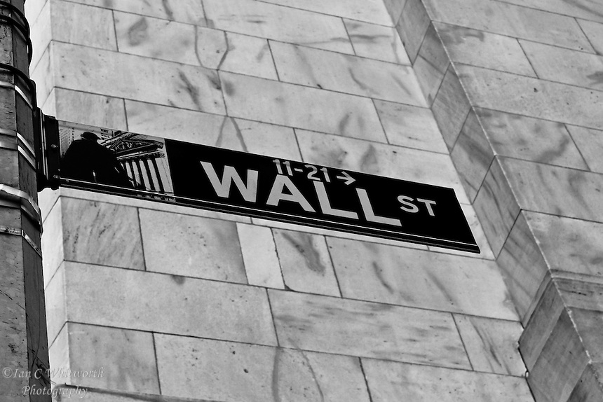 The Wall Street sign in B&W