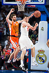 Real Madrid's player Maciulis and Valencia Basket's Shurna during the first match of the Semi Finals of Liga Endesa Playoff at Barclaycard Center in Madrid. June 02. 2016. (ALTERPHOTOS/Borja B.Hojas)