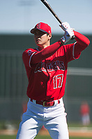 Shohei Ohtani (17), outfielder/pitcher for the Los Angeles Angels, during Spring Training Camp on February 22, 2018 at Tempe Diablo Stadium in Tempe, Arizona. (Zachary Lucy/Four Seam Images)