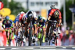 World Champion Peter Sagan (SVK) Bora-Hansgrohe outsprints Sonny Colbrelli (ITA) Bahrain-Merida and Arnaud Demare (FRA) Groupama-FDJ to win Stage 2 of the 2018 Tour de France running 182.5km from Mouilleron-Saint-Germain to La Roche-sur-Yon, France. 8th July 2018. <br /> Picture: ASO/Alex Broadway | Cyclefile<br /> All photos usage must carry mandatory copyright credit (&copy; Cyclefile | ASO/Alex Broadway)