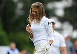 England&rsquo;s Zoe Hardman celebrates after her first tee shot<br /> <br /> Golf - Day 1 - Celebrity Cup - Saturday 4th July 2015 - Celtic Manor Resort  - Newport<br /> <br /> &copy; www.sportingwales.com- PLEASE CREDIT IAN COOK