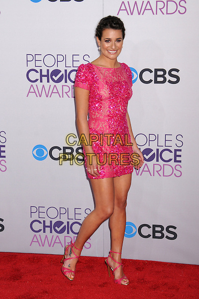 Lea Michele .People's Choice Awards 2013 - Arrivals held at Nokia Theatre L.A. Live, Los Angeles, California, USA..January 9th, 2013.full length pink dress lace sequins sequined beads beaded .CAP/ADM/BP.©Byron Purvis/AdMedia/Capital Pictures.