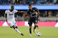 San Jose, CA - Saturday August 25, 2018: Aly Ghazal, Anibal Godoy during a Major League Soccer (MLS) match between the San Jose Earthquakes and Vancouver Whitecaps FC at Avaya Stadium.