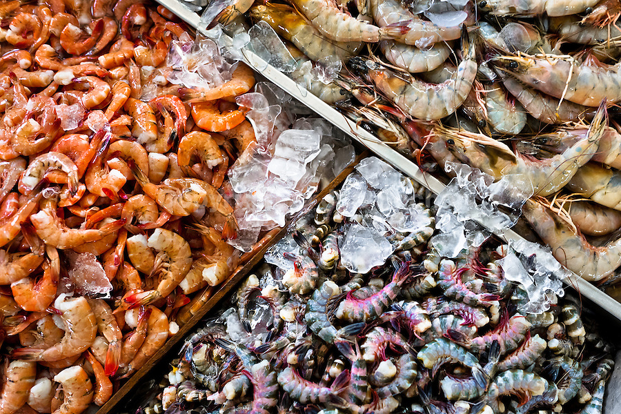Wide variety of shrimps (raw, steamed,…) for sale is seen at Mercado de Mariscos seafood and fish market in Panama City, Panama, 1 February 2015.
