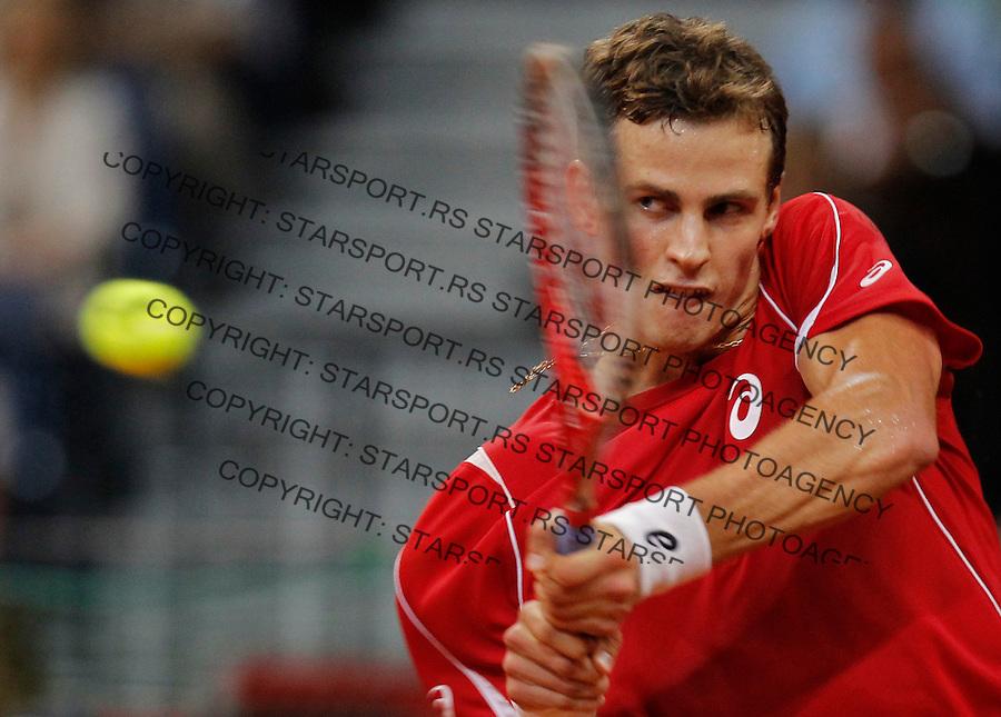 Tennis Tenis<br /> Davis Cup semifinal polufinale<br /> Serbia v Canada<br /> Janko Tipsarevic v Vasek Pospisil<br /> Vasek Pospisil returns the ball<br /> Beograd, 15.09.2013.<br /> foto: Srdjan Stevanovic/Starsportphoto &copy;