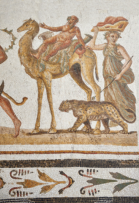 Picture of a Roman mosaics design depicting Silenus riding a camel, from the ancient Roman city of Thysdrus. 2nd century AD, House of the Dionysus Proccession. El Djem Archaeological Museum, El Djem, Tunisia.