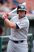 Lehigh Valley IronPigs outfielder Darin Ruf #15 on deck during the first game of a double header against the Buffalo Bisons on June 7, 2013 at Coca-Cola Field in Buffalo, New York.  Buffalo defeated Lehigh Valley 4-3.  (Mike Janes/Four Seam Images)