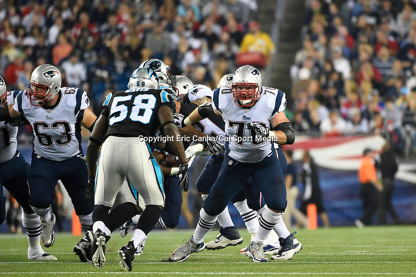 August 22, 2014 - Foxborough, Massachusetts, U.S.- New England Patriots guard Logan Mankins (70) in game action  during the NFL pre-season game between the New England Patriots and the Carolina Panthers held at Gillette Stadium in Foxborough Massachusetts. The Patriots defeated the Panthers 30-7 in regulation time. Eric Canha/CSM