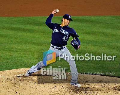 21 June 2011: Seattle Mariners pitcher Brandon League on the mound against the Washington Nationals at Nationals Park in Washington, District of Columbia. The Nationals rallied from a 5-1 deficit, scoring 5 runs in the bottom of the 9th, to defeat the Mariners 6-5 in inter-league play. Mandatory Credit: Ed Wolfstein Photo