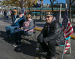 Veteran , 58-year old, Charles gets ready to watch the Veterans Day Parade in downtown Reno on Sunday, November 11, 2018.  He attends the parade to remember those who came before him and died for our freedom.  He served at Fort Bragg, NC and Fort Campbell, KY.