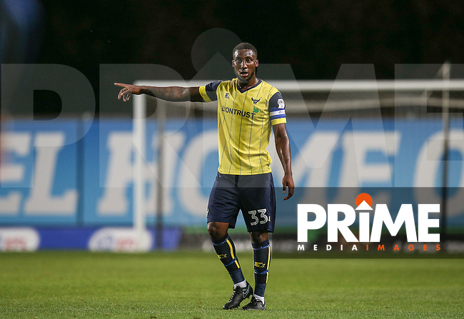 Cheyenne Dunkley of Oxford United during the The Checkatrade Trophy match between Oxford United and Exeter City at the Kassam Stadium, Oxford, England on 30 August 2016. Photo by Andy Rowland / PRiME Media Images.