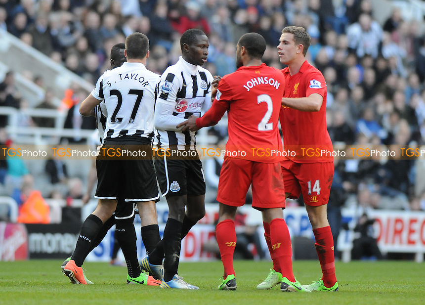 Glen Johnson of Liverpool and Cheik Ismael Tioté of Newcastle United are seperated by players from both teams - Newcastle United vs Liverpool - Barclays Premier League Football at St James Park, Newcastle upon Tyne - 27/04/13 - MANDATORY CREDIT: Steven White/TGSPHOTO - Self billing applies where appropriate - 0845 094 6026 - contact@tgsphoto.co.uk - NO UNPAID USE