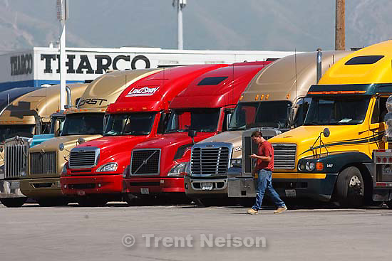 Salt Lake City - Trucks lined up at Sapp Brothers truck stop Thursday May 21, 2009..