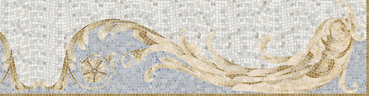 "18 1/2"" Oceanus border, a hand-cut stone mosaic, shown in polished Celeste, Travertine White, Crema Marfil, Renaissance Bronze, and Sylvia Gold."