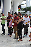 MIAMI, FL - SEPTEMBER 25: Fans show their respect at a memorial at Marlins Park for Miami Marlins Pitcher Jose Fernandez who was killed in a boating accident early this morning on September 25, 2016 in Miami Florida. Credit: mpi04/MediaPunch