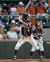 Texas A&M LF Brodie Greene bats against Texas on May 16th, 2008 in Austin Texas. Photo by Andrew Woolley / Four Seam images.