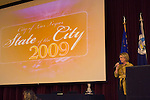 The annual state of the city speech,  at the Historical 5th Street School, Mayor Oscar Goodman promised to continue to push for a new city hall, a new downtown casino and other projects he believes will revitalize downtown.