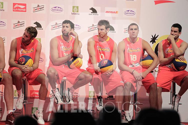 Spain's basket national team players Rudy Fernandez, Alex Mumbru, Victor Claver, Pablo Aguilar and Rafa Martinez during presentation for world championships. July 21, 2010. (ALTERPHOTOS/Alvaro Hernandez)