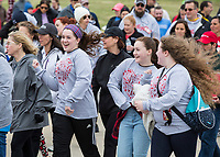 NWA Democrat-Gazette/BEN GOFF @NWABENGOFF<br /> Sarah Linz (from left), Anna Linz and Rosalie Linz, sisters from Bentonville, take part in the walk Saturday, April 13, 2019, during the Northwest Arkansas Heart Walk starting from the Walmart Arkansas Music Pavilion in Rogers. This year is the 25th anniversary for the American Heart Association's annual walk with locations around the country. This year's Northwest Arkansas walk raised more than $1 million with donations still coming in as of Saturday morning, said to Lauren Wheeler with the American Heart Association Northwest Arkansas.