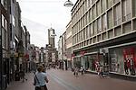 Pedestrianised modern shopping street central Nijmegen, Gelderland, Netherlands