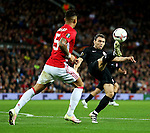 Ihor Kharatin of FC Zorya Luhansk controls the ball under pressure from Marcos Rojo of Manchester United during the UEFA Europa League match at Old Trafford Stadium, Manchester. Picture date: September 29th, 2016. Pic Matt McNulty/Sportimage